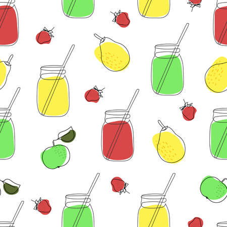 seamless pattern glass jars with juice with a straw and green apples, yellow pears and strawberries are drawn in one line on a white background