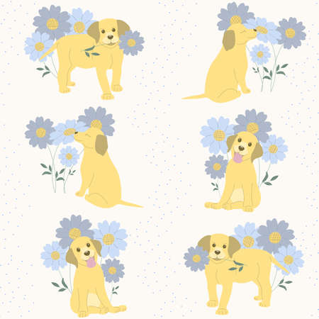 seamless pattern labrador puppies in different poses on a light background of flowers and blue dots. puppies stand with a flower in their mouth, sits and sniffs blue and purple flowers