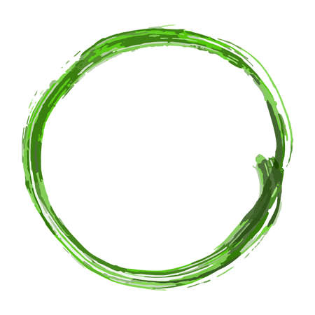 round frame drawn with a brush in different shades of green isolate on a white background