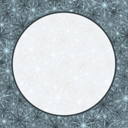 white round transparent frame on a gray background with monochrome stars of gray-white color. sample