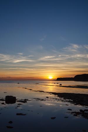 Kimmeridge bay at Sunset, taken in Autumn in Dorset. Stock Photo