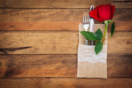 banket: Romantic table settings with rose