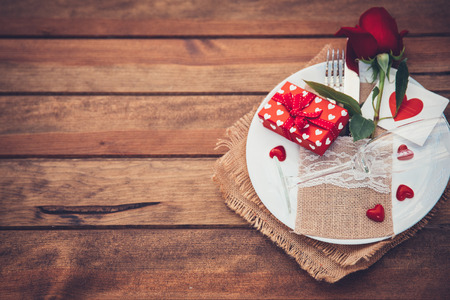 Romantic table settings with rose