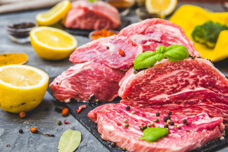 Raw juicy meat steak on dark background Stock Photo