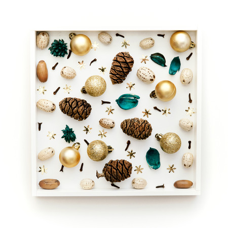Christmas pattern. Christmas natural decorations on white background. Flat lay, top view