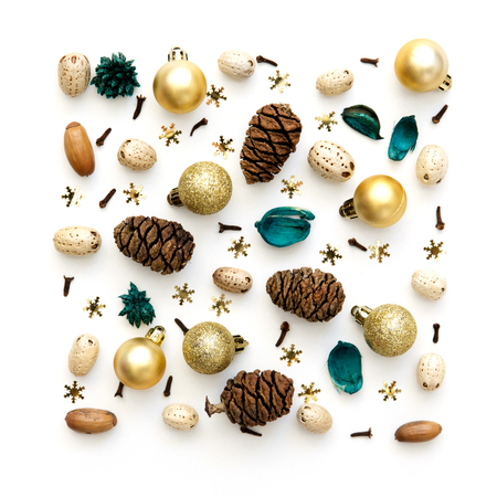 Natural christmas pattern from decorations and cones. Evergreen needles background