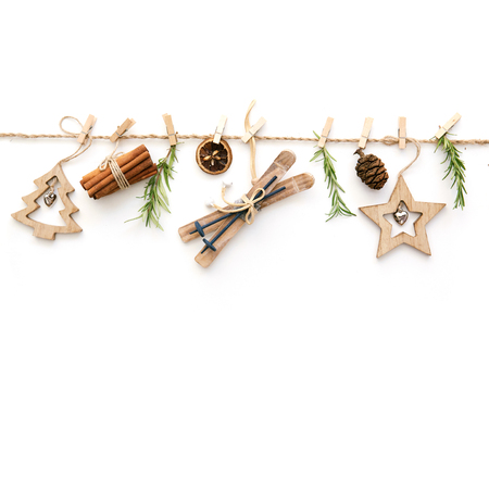 Christmas composition on white background