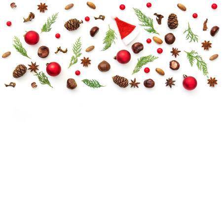Christmas holiday and minimal creative pattern on white. flat lay, top view. christmas background wallpaper.