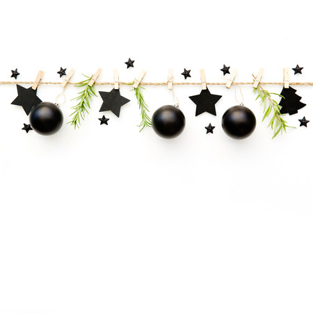 Christmas composition. Decorations and christmas balls. Copy space