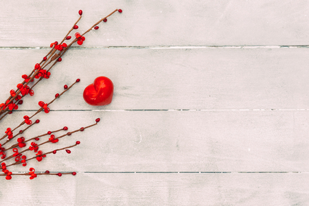 Valentines day concept, red heart on wooden background. copy space top view. Happy Valentines Day scene