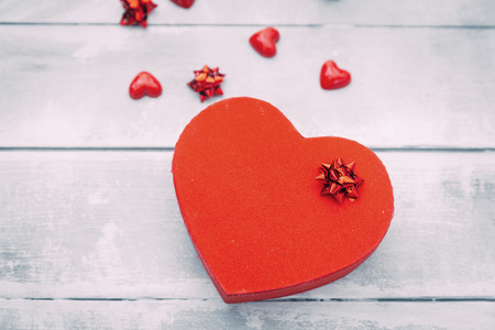 Heart-shaped box. Valentines Day gift background Stock Photo