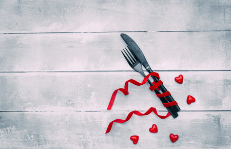 Table set with Fork and knife. Top view, copy space. Serving, Table decoration Valentines Day Stock Photo