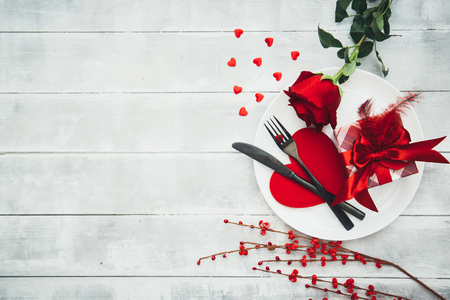 Valentines Day, serving a festive table