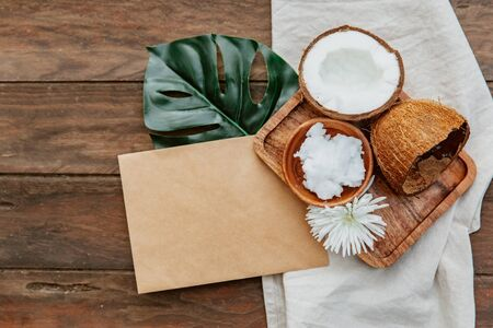 Composition with coconut products, body care concept, coconut oil on white background