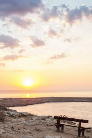 Sunrise with sea view from the top of Cape Greco in Aiya Napa, Cyprus Фото со стока