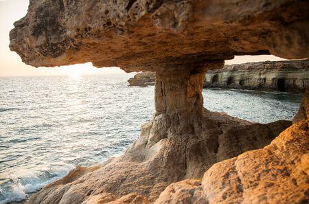 Sea Cave of Cape Greco National Park in sunny day, Cyprus Banco de Imagens