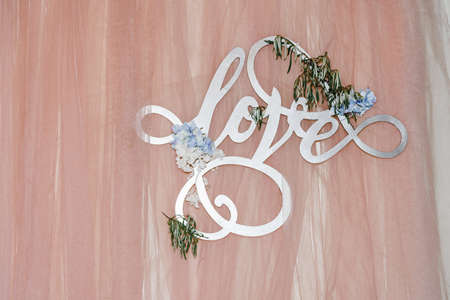 Wedding decor for the holiday. hall decoration. Wedding day, honeymoon ceremony and banquet. Details.