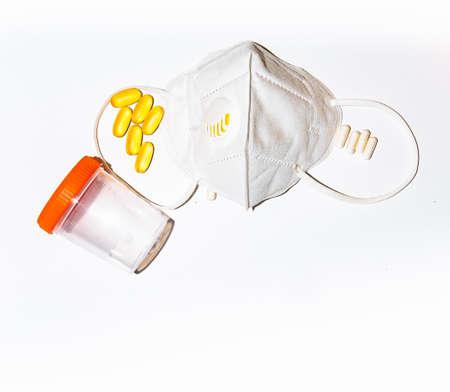 mask respirator covid 19, padmedia, quarantine vitamins strengthening immunity omega antibiotic pills. Stock Photo