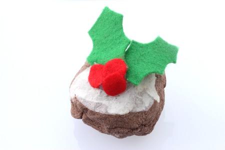 christmas pudding: Child s handmade Christmas pudding decoration Stock Photo
