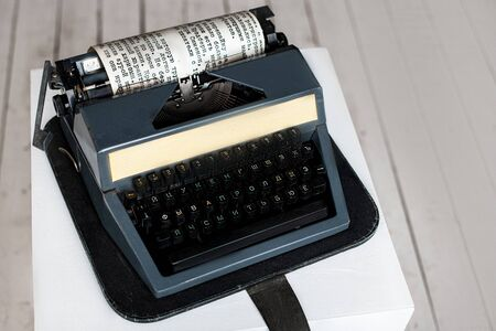 Vintage typewriter Machine header with old paper. retro machine technology - top view and creative flat lay design.