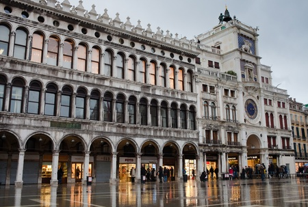 Rainy evening at San Marco square. Venice.