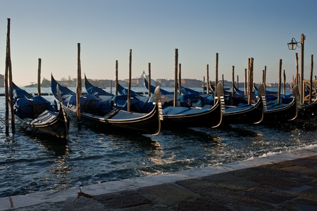 Gondolas.Morning light. photo