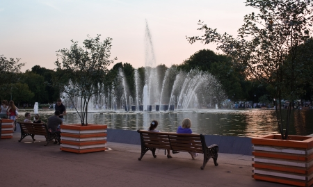 gorky: Summer evening at Gorky park  Moscow