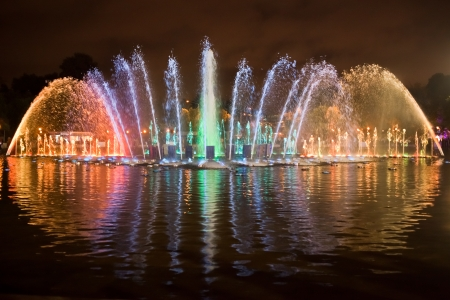 gorky: Colored fontain at night lights