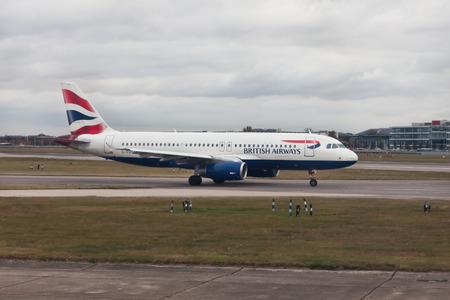 airways: Aircraft British Airways at Heathrow airport, London Editorial