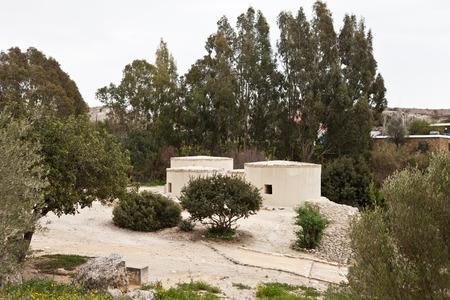 reconstructing: Neolithic village in Cyprus Choirokoitia Stock Photo