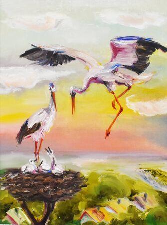 Oil painting storks feed their chicks Stok Fotoğraf