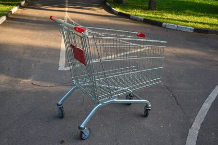 Store empty cart for products on the road. Cart was stolen from shop and thrown on street.
