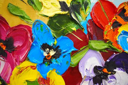 Fragment of an oil painting. Drawn bright multi-colored flowers. Abstract colorful background