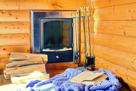 Country house for a relaxing holiday. A place to read books in a log house.