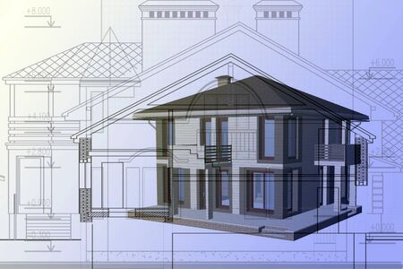 The project of a residential construction.  Computer drawing.