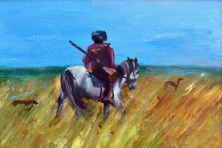Old palette knife painting handmade. Picture for home interior. A man on a horse in the field.