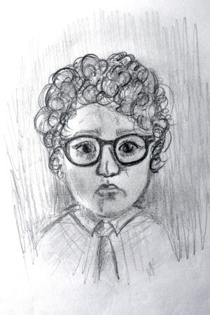 Academic drawing of a man. The student in glasses picture paper. Kinky funny boy. Stok Fotoğraf
