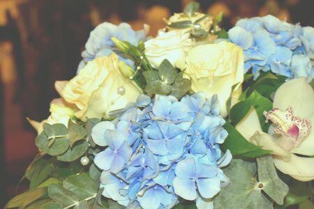 White-blue courtesy bouquet of flowers. Wedding flower decoration.