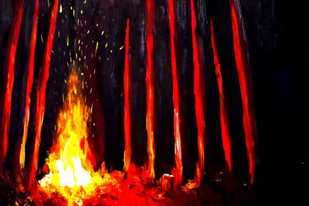 Painted fire with sparks. Nightly magic mysterious forest drawing.