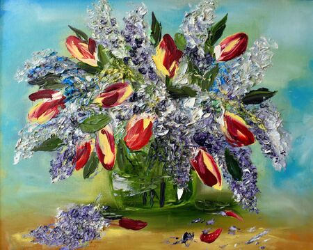 Spring bouquet painting with paints. Art of painting with a palette knife. Picture for the interior.
