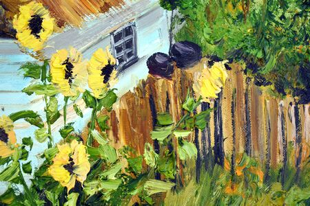 Handmade artistic painting. Cozy drawing of a wooden house in the garden. Picture for the interior.