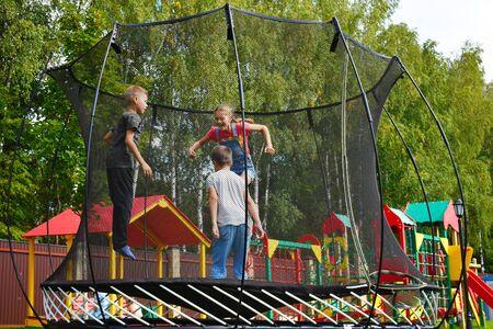 Cheerful happy childhood on the playground.