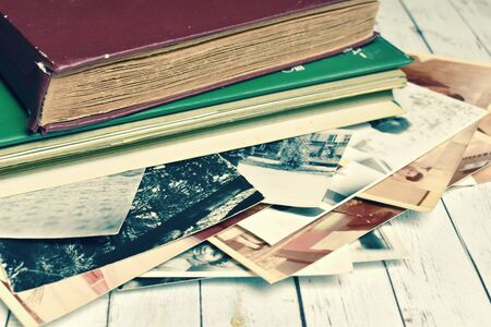 Antique vintage album for photo cards. The memory of the distant past.