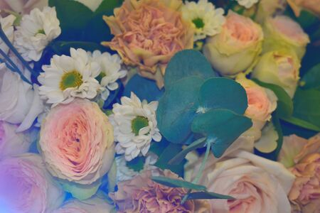 Vibrant delicate bright flowers. Multi-colored different garden flowers in a bouquet.