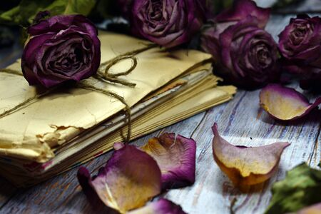 Withered roses with vintage letters close-up. Faded flowers, old letters on a wooden table. Vintage beautiful photo of dry buds. The fragility of life. Paper envelopes with letters. Memories of the past.
