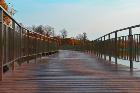 Lake in a city park with a wooden promenade. Cozy water natural landscape with a path. A place for walking in the city.