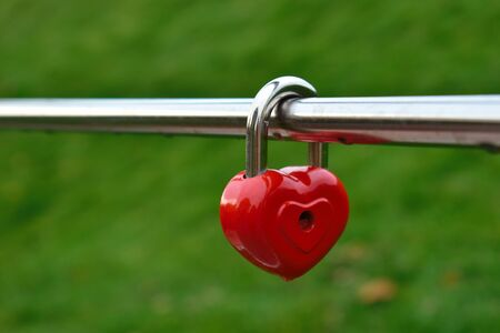 The tradition of hooking a castle on a fence. Wedding lock on happiness. Locked love.