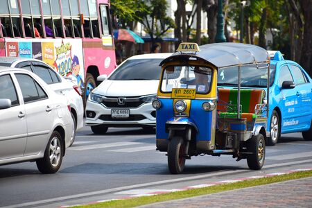 Thailand. Bangkok. January 2020. National transport tuk tuk in Thailand. Taxi in Asia. Open the machine to transport people. Redactioneel