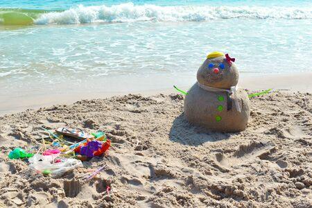 snowman on the beach.