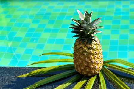 l'ananas sul bordo della piscina all'aperto. un frutto tropicale a colazione Archivio Fotografico